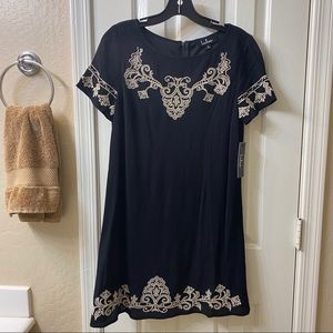 Lulu's Black & White Embroidered Shift Dress